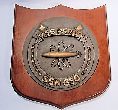Uss Pargo Ssn-650 Vintage Bronze Ship's Crest Wall Plaque U.s. Navy Nuclear Sub