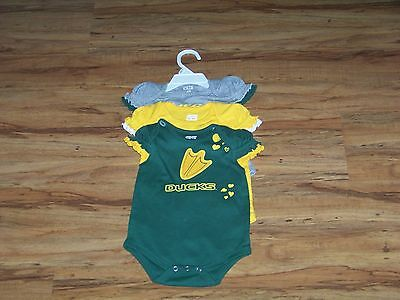 Oregon Ducks Infant Girls Rompers/Creepers/Bodysuit Size 3/6 Months New