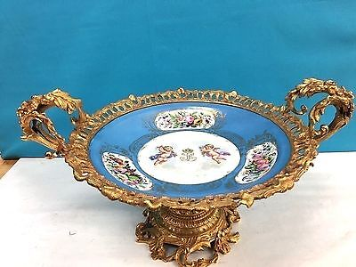 Antique French Porcelain Sevres & Bronze Centerpiece Dated Stamed 1847