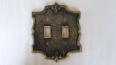 1  Brass Vintage Brass Double Light switch plate