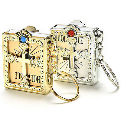 Mini Holy Bible + Keyring Gold/Silver Christian Jesus Book Spirituality Keychain