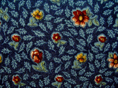 Retro Upholstery craft fabric cut velvet navy w/ rust floral design 25 yards NOS