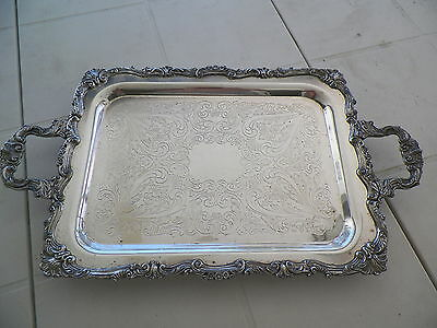 "23 1/4"" X 13 1/2"" Vntg Footed Silverplate Tray"