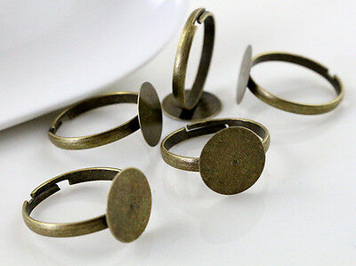 20pcs Antique Bronze Adjustable Ring Blank/Base | Pad Top For 12mm Cabochons