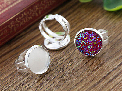 10pcs Children Silver Plated Adjustable Ring Blank/Base | Fit 12mm Cabochons