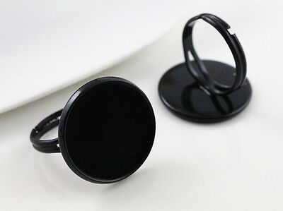5pcs Black Plated Ring Blank/Base | Fit 20mm Cabochons
