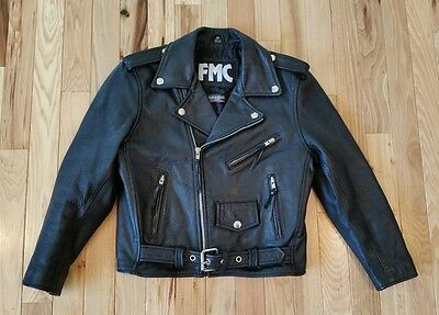 FMC Black Leather Motorcycle Riding Biker Jacket Youth Kids Children's Size 12
