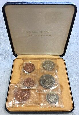 1966 Bank Of Uganda 6 Coin Proof Set In Box First Minted Coinage