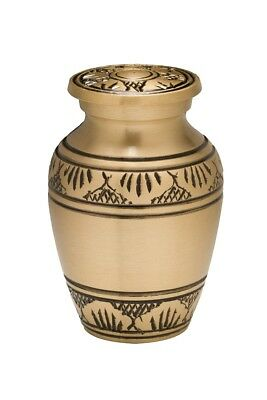 Funeral Keepsake Urn Gold- Small New Brass Urn For Human Ashes -