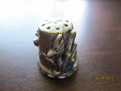 ARIZONA Road Runner Turquoise & Pewter 3D THIMBLE Vintage