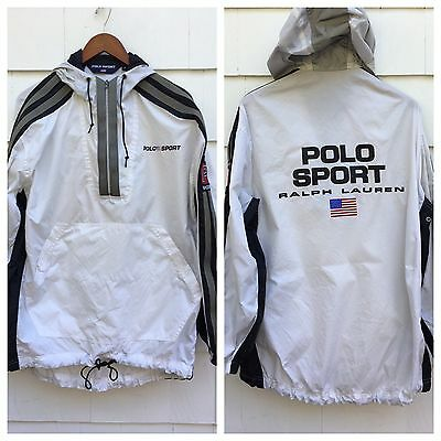 90s Ralph Lauren Polo Sport Reflective Half Zip Jacket Windbreaker White Medium
