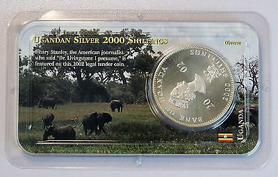 2002 Ugandan 2000 Shillings Silver UNC Coin Littleton Coin Co Original Package