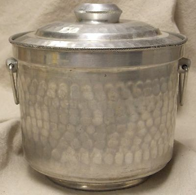 Vintage Hammered Aluminum Metal Ice Bucket - Made in Italy