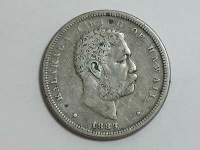 1883 Kingdom Of Hawaii Half Dollar - Silver World Coin - King Kalakaua