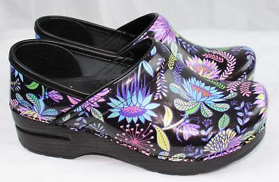 Dansko Professional Wildflower Patent Leather Clogs Doctor/Nurses/Chef Shoes