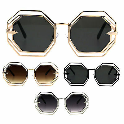 Womens Victorian Geometric Art Deco Metal Rim Octagon Retro Fashion Sunglasses