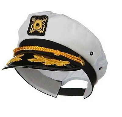 Adult Mens Yacht Boat Captain Hat Sailor Ship Navy Marines Admiral Cap White
