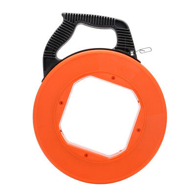 197 Feet Electrical Fish Tape Reel, Pull Communication Wire Cable Line Orange