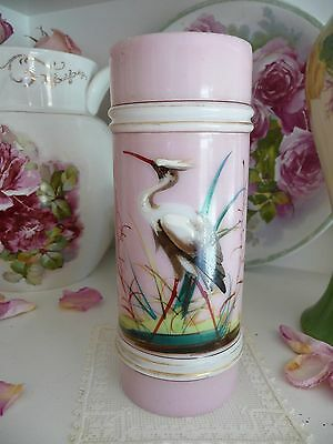Antique Victorian Hand Painted HP Heron Bird PINK Glass VASE/Cup/Pen~SMITH~1880s