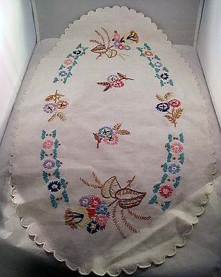 Vintage Hand Embroidered Table Runner Scarf Colorful