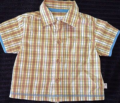 Designer Boys Size 000 Collared Cotton Short Sleeve Shirt Yellow ⭐️