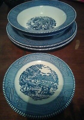 Currier and Ives Mixed Lot Early Winter 6 piece set