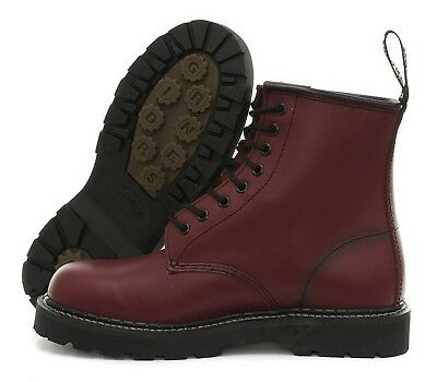 73bbc8a0144 GRINDERS CEDRIC RED Cherry 8 Eyelet Derby Boot Punk Leather Combat Boots