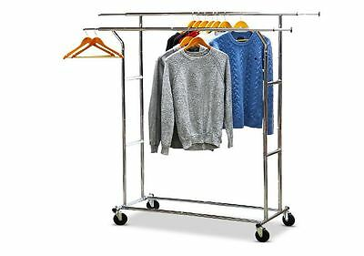 Rolling Adjustable Garment Rack Metal Double Rail Commercial Grade Portable