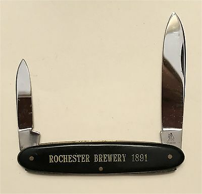 1891 Rochester Brewery Black Celluloid Handle Two Blade Knife