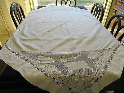 Vintage Hand-worked White TABLECLOTH with Reindeer Embroidery, Floral Whitework