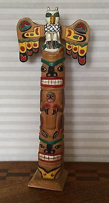 Rare Pacific NW Native Tsimshian Indian 5 Figure Totem Pole Signed, Dated
