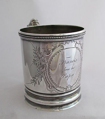 Antique Marked John Cook Coin Silver Engraved Christening Baby Mug Francis