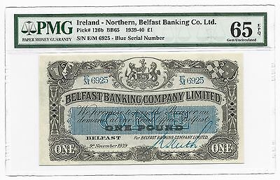 1939 Northern Ireland 1 One Pound, Belfast Banking Company PMG 65 EPQ, GEM UNC