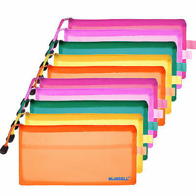 10pcs Random Color Plastic Double Layer Invoice Bill Bag, Pencil Pouch Pen Bag