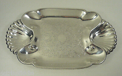 """Antique FB Rogers 3 Section 14.25"""" Serving Dish Tray Shell Sides Silverplate"""