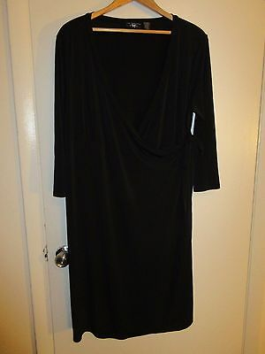 NEW ADDITIONS Maternity Nursing Women Sz 2XL /XLL Wrap Black Work Wearing Dress