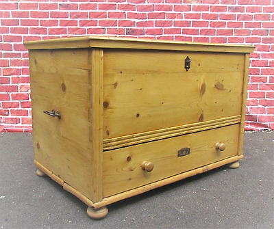 A Large Antique Pine Mule Chest, Coffer With Drawer.