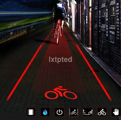 2Laser+5 LED Flashing Lamp Light Rear Cycling Bicycle Bike Tail Safety Warning ~