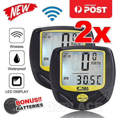 2X Premium Wireless Bike Bicycle Cycle Computer Speedometer Odometer Waterproof