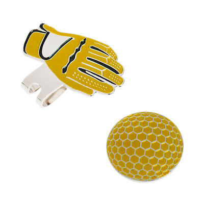Stainless Steel Glove Golf Hat & Visor Clip with Magnetic Ball Marker Yellow