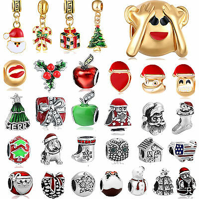 European 925 Christmas Charm Beads Pendant Fit sterling Bracelet Necklace Xmas