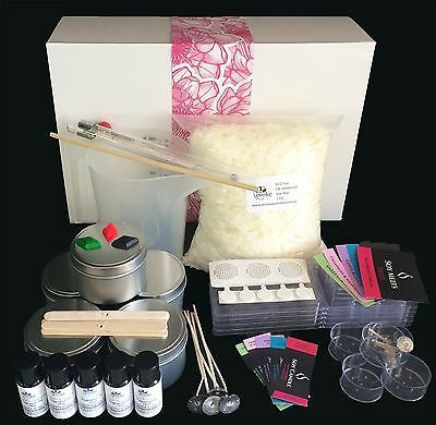 Soy Candle Making Kit with POURING JUG, Tins, Thermometer, Melts & Labels