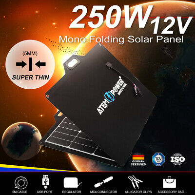 200W 12V Folding Solar Panel Blanket Sun Power Cells Regulator With USB Socket