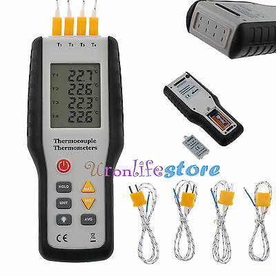 4-Channel K-Type Digital  LCDThermometer Thermocouple Sensor -200~1372°C/2501°F