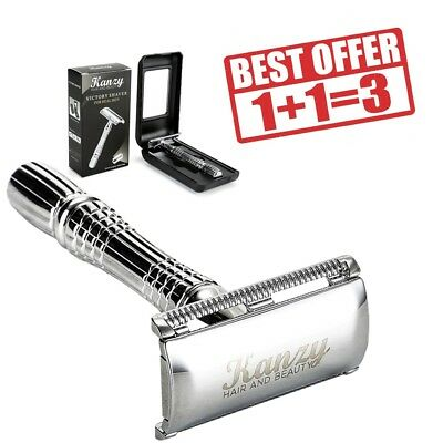 Kanzy Double edge safety razor with Wilkinson blades, cut throat razor