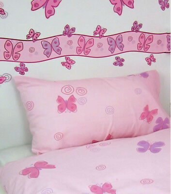 Girls Pink Butterfly Wallpaper Border