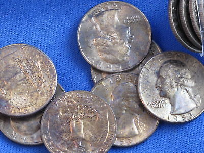 1953-D Washington Quarter Silver Uncirculated Toned Lot Of 37