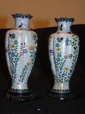 Pair of Antique Japanese Meiji Era Cloisonne Vases With Wooden Stand