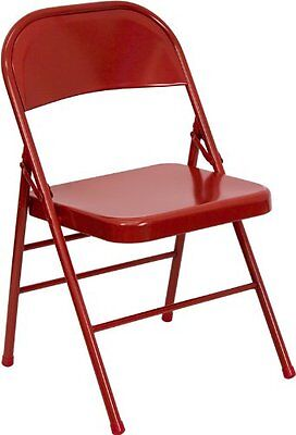 Folding Chair Triple Braced Double Hinged Metal Red Steel Frame Camping Garden