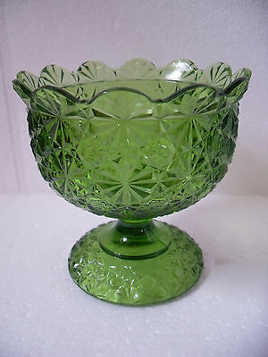 Vintage LE Smith Green Daisy & Buttons Candy Dish Compote